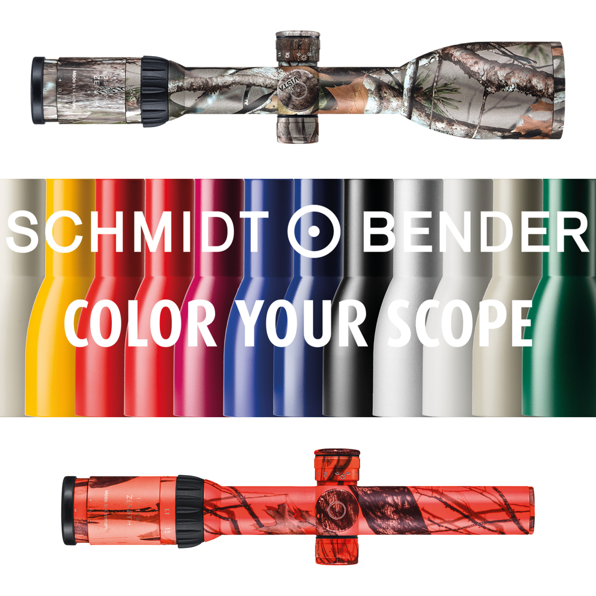 Color Your Scope riflescopes in different colours